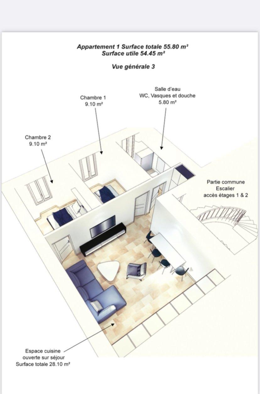 Apartment - 3 rooms - Tourrettes