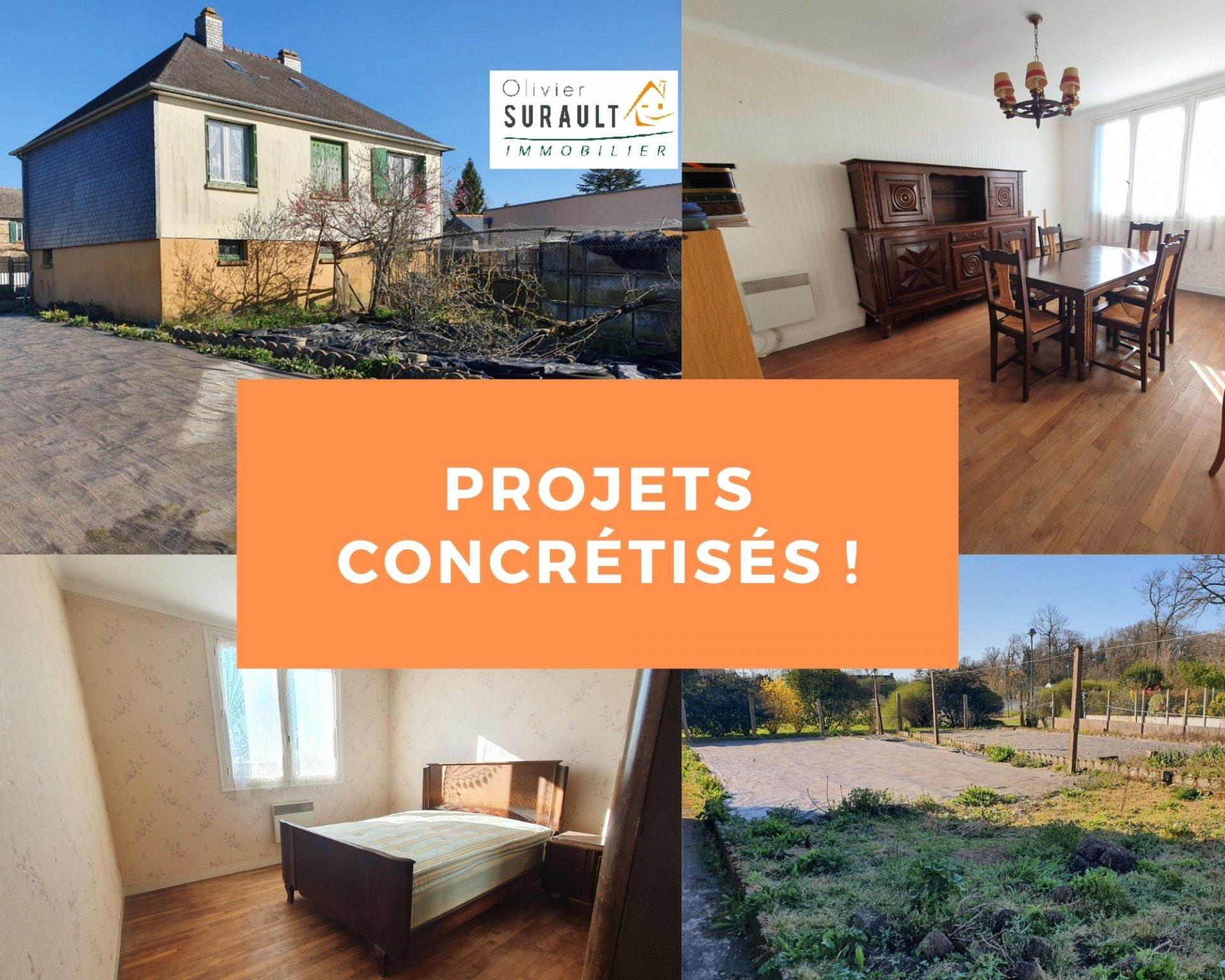 Maison de bourg-70 m² hab-sous-sol complet-terrain de 688 m²