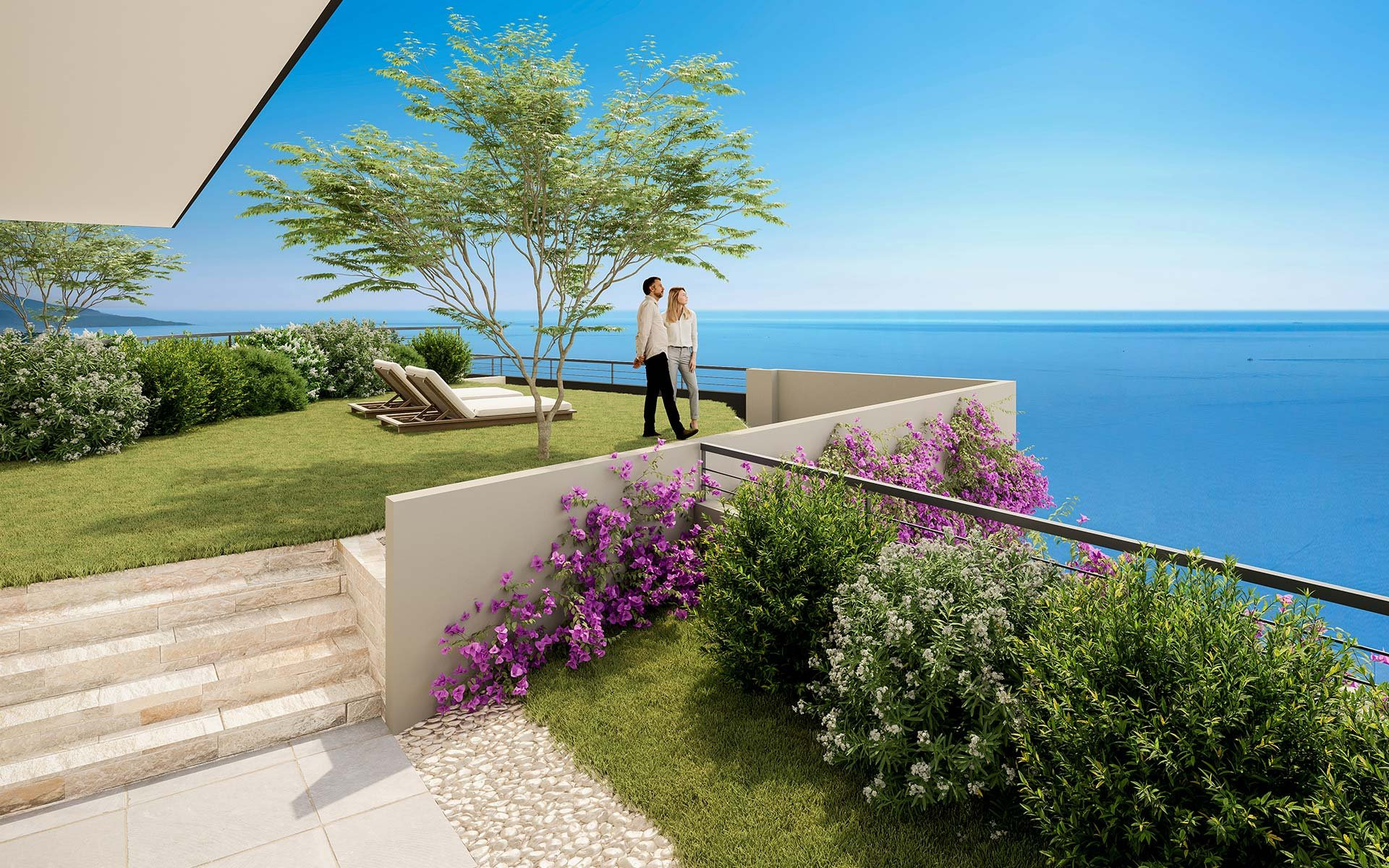 BEAUSOLEIL - French Riviera - 2 bed apartment with panoramic sea view - large terrace - swimming pool