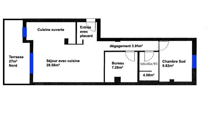 LOCATION MEUBLEE - Gambetta  2P + Terrasse