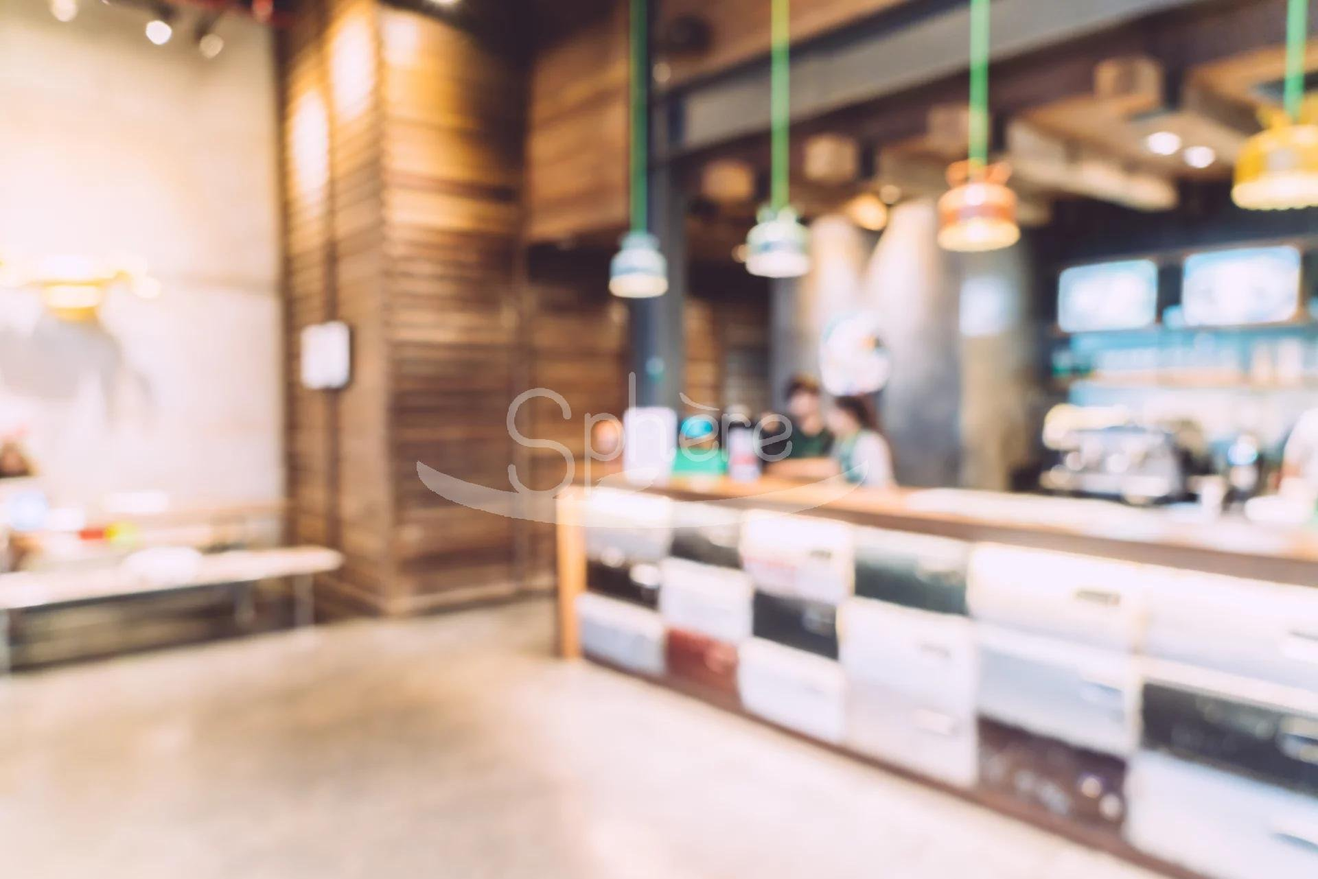 Abstract blur coffee shop interior background - vintage filter