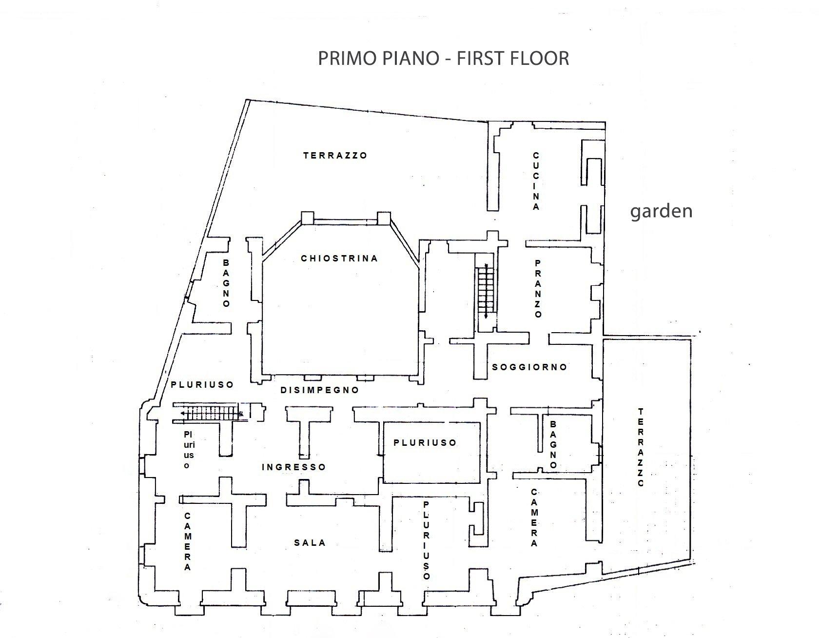 Ancien palais avec jardin privé et cour