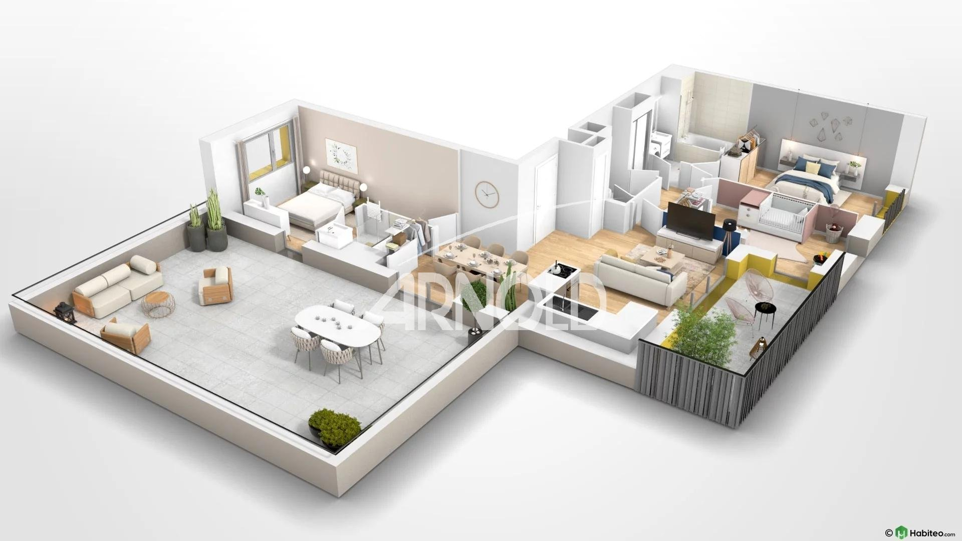 Appartement T4 neuf avec 2 terrasses à Rennes