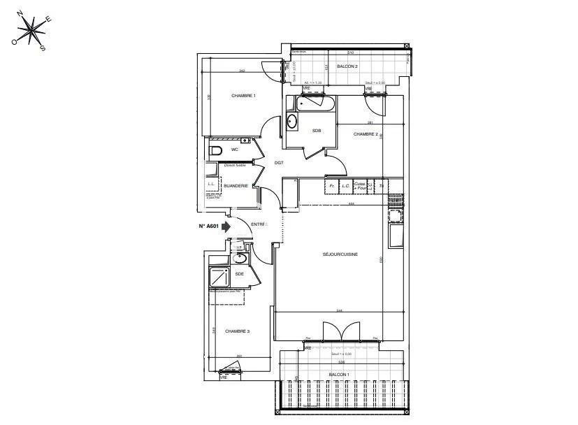 Vente de appartement d'une surface de 89.4 m2