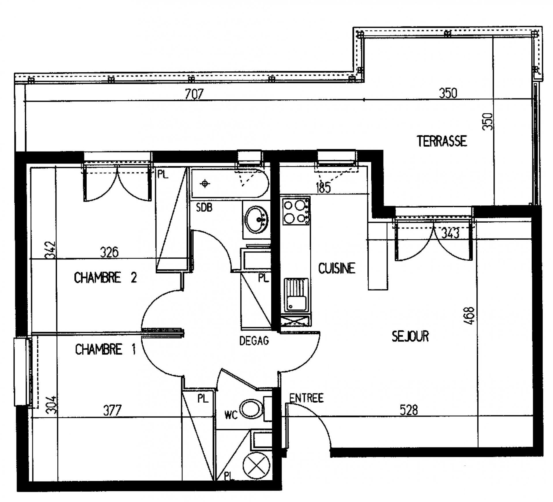 Appartement T3 - 58m² avec terrasse de 22m² - 31200 TOULOUSE