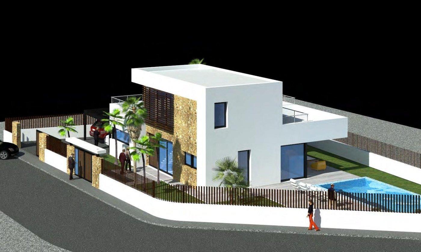 Nouvelle villa de style moderne à distance de marche de la plage