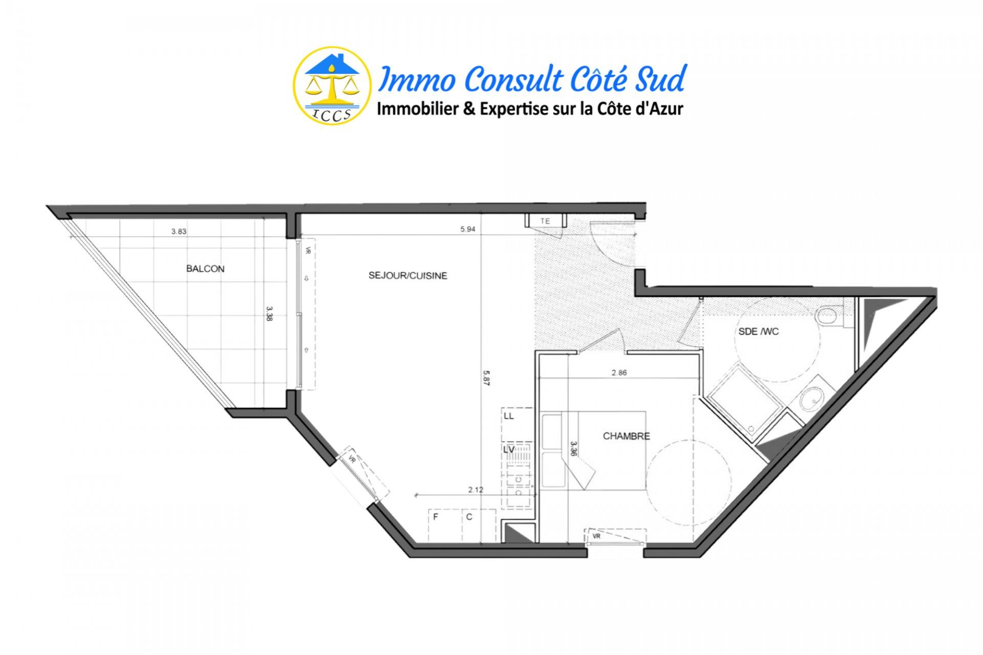 T2 avec balcon et garage - Cimiez