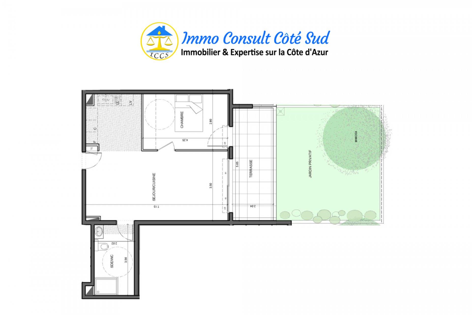 T2 avec jardin privatif et garage - Cimiez