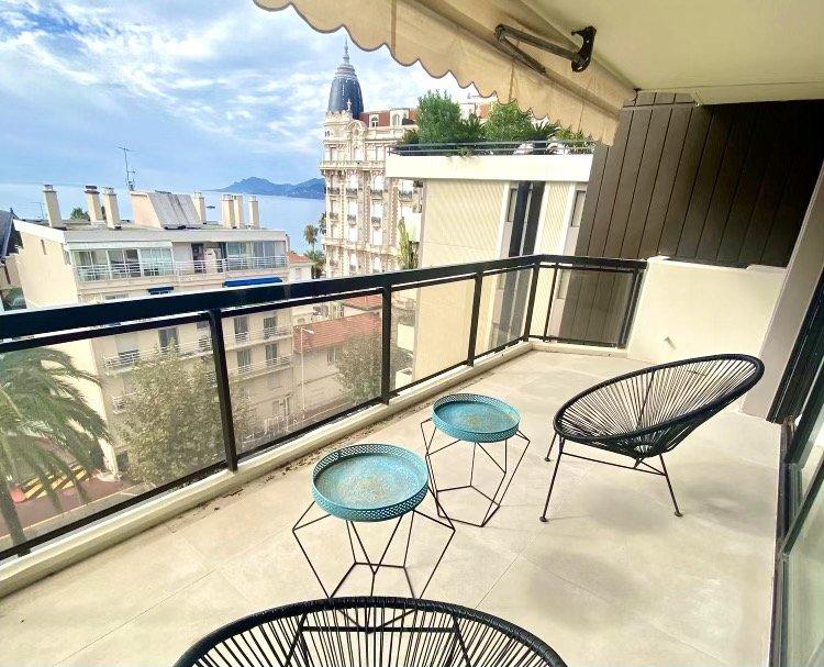 Cannes Croisette - 3 Pièces contemporain avec terrasse, vue mer et parking sous/sol