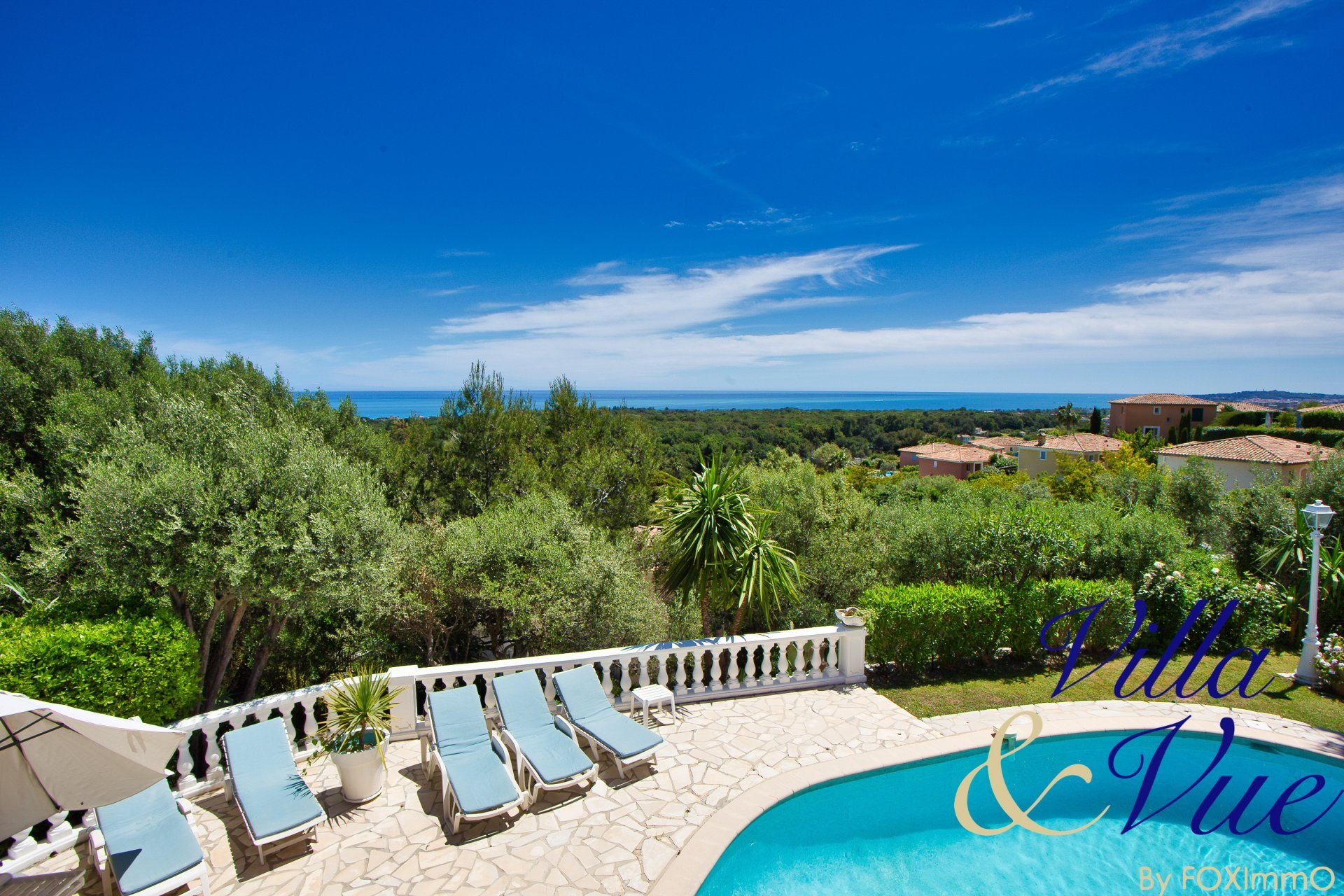 On the French Riviera, superb villa with panoramic sea view, swimming pool, terrace