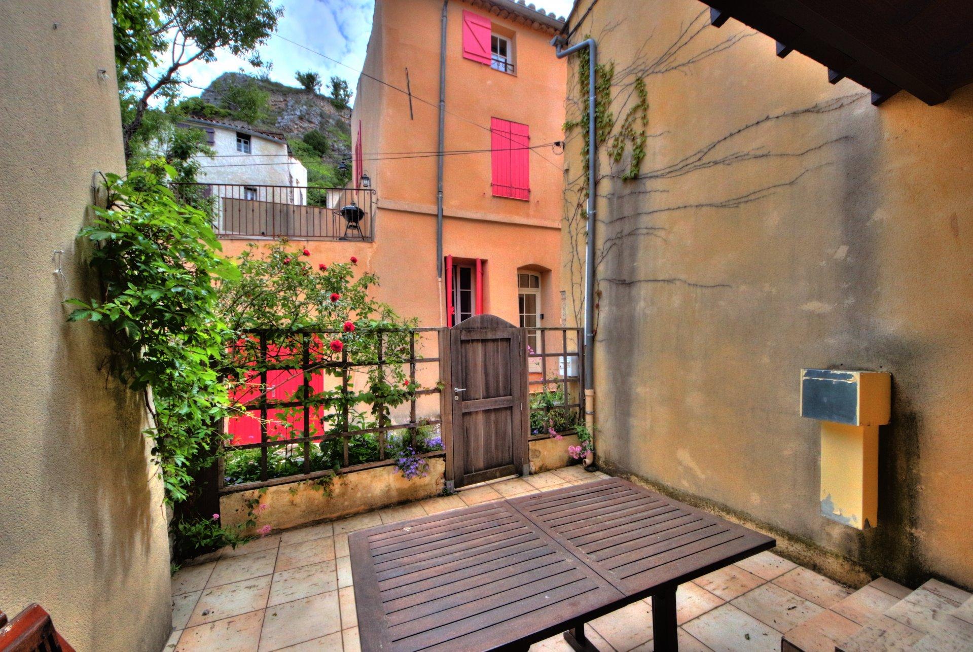 Outdoor court, overlooking the village of Aiguines, bedroom access