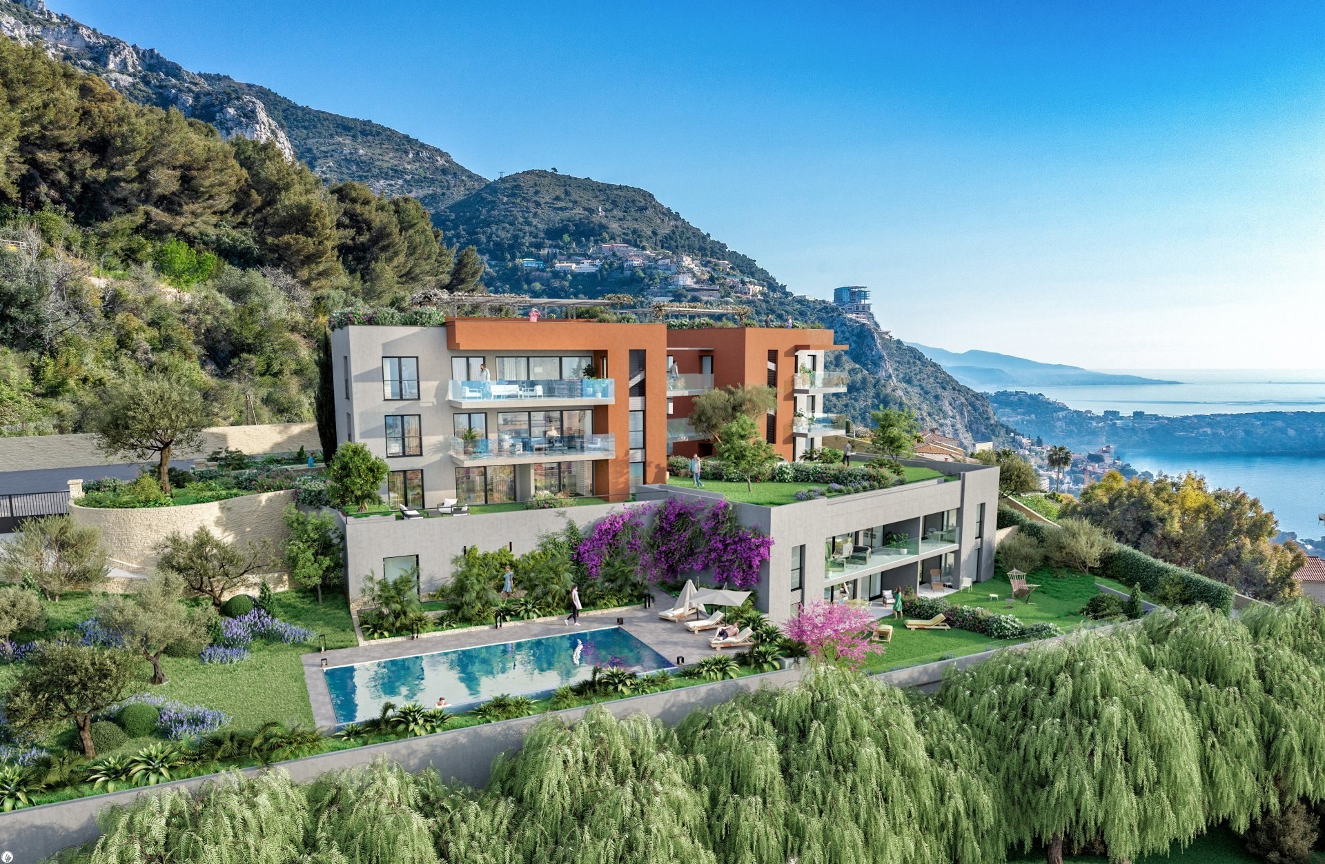 BEAUSOLEIL - French Riviera - 3 bed apartment with panoramic sea view - large terrace - swimming pool