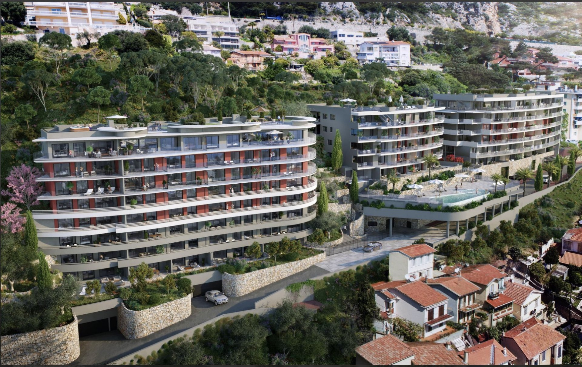 Limitrophe Monaco 2 pieces vue mer panoramique