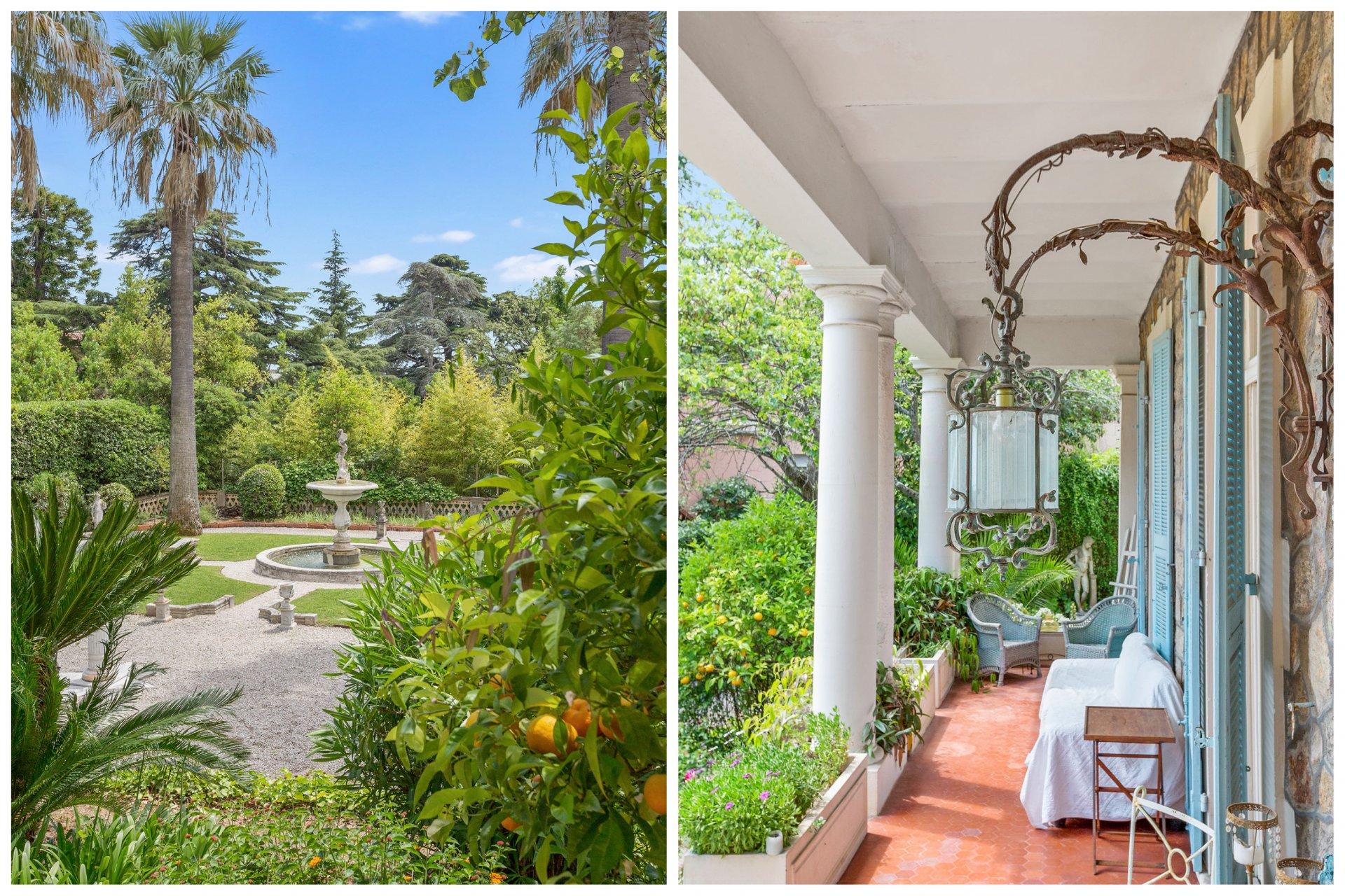 Ravissant appartement 5P de caractère exceptionnel à vendre avec magnifique jardin privé dans un ancien hôtel particulier à 5 minutes à pied des plages à Cannes