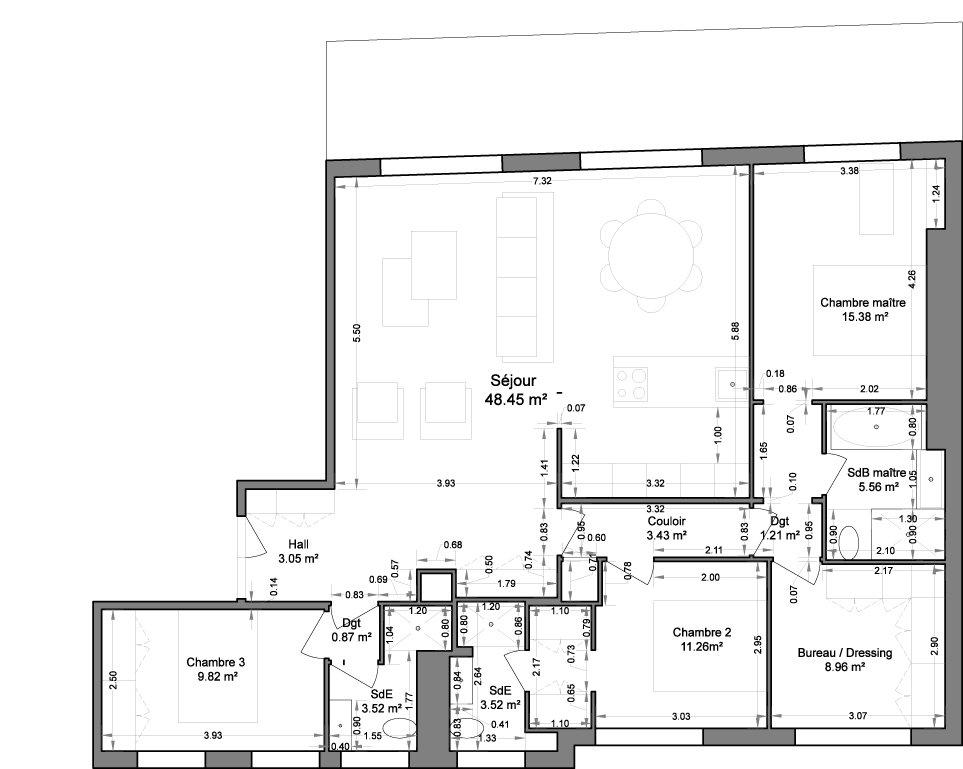 Nice Centre Ville 4/5 pièces dernier étage plan