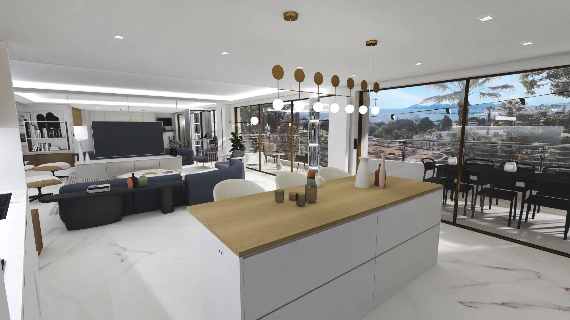 CANNES - VENTE APPARTEMENT 4P 128M² + 46M² Terrasses VUE MER PANORAMIQUE