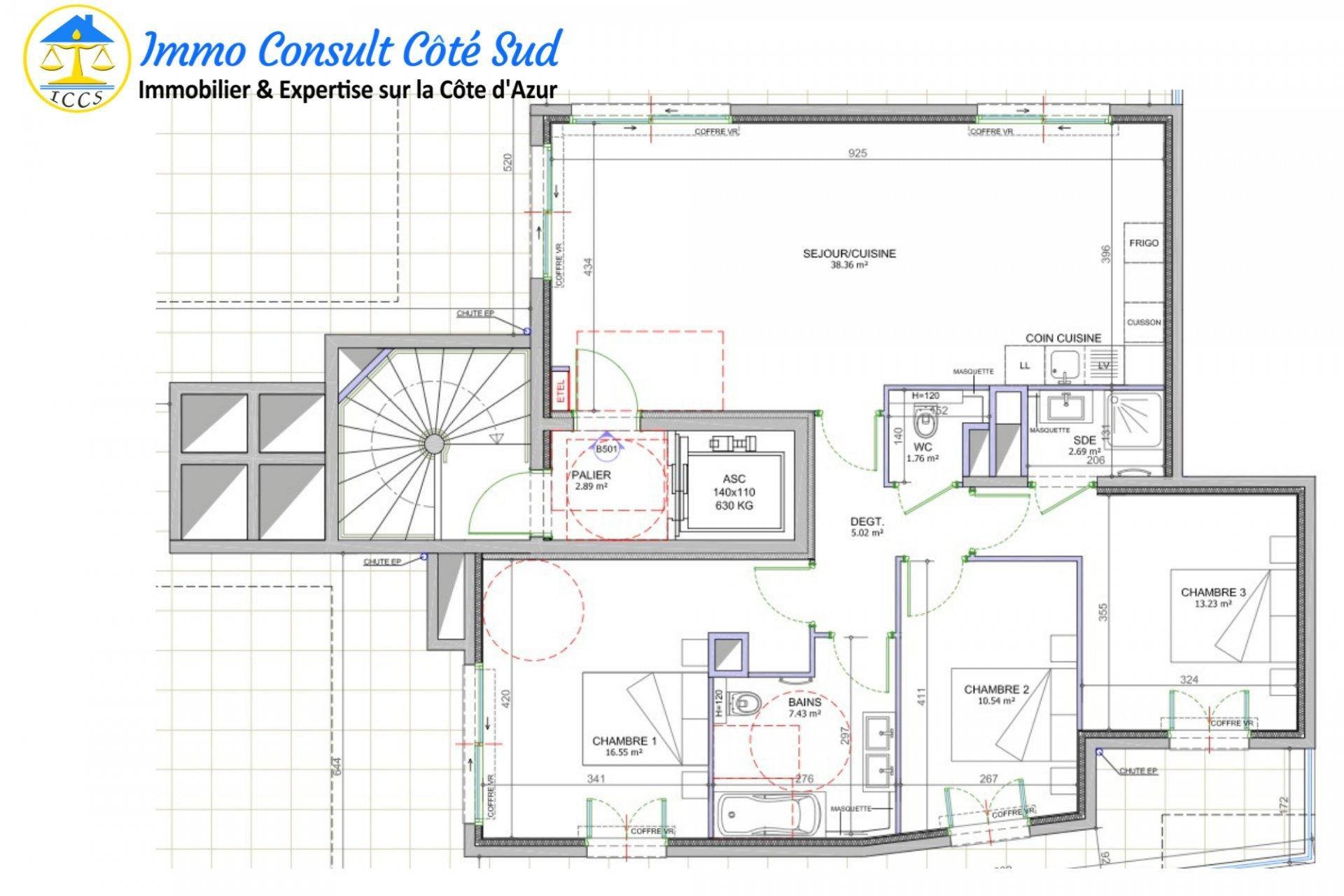 Appartement toit-terrasse et 4 parkings - Cagnes-sur-mer