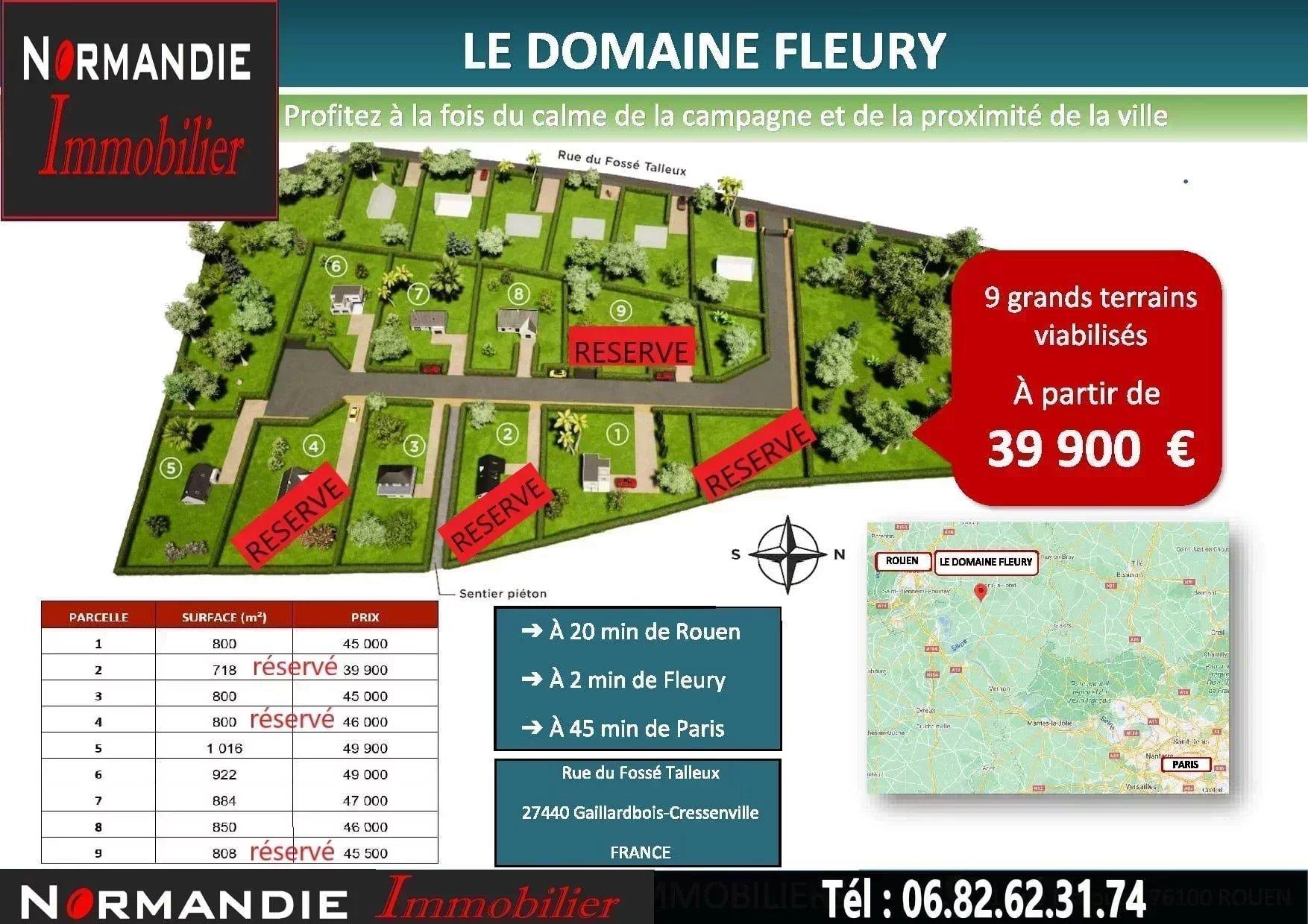 Terrain à bâtir viabilisé de 1016 m² prix 49 900 euros à 2 minutes de Fleury sur Andelle