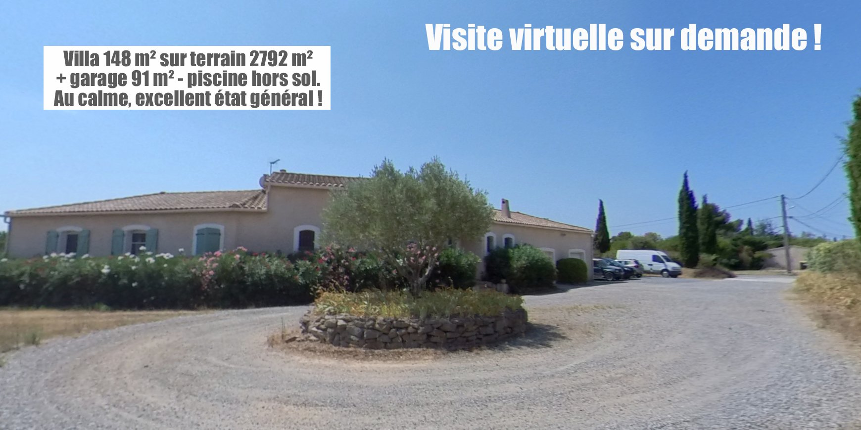 Villa 4 faces 148 m² + garage 90 m² sur parcelle 2792 m²