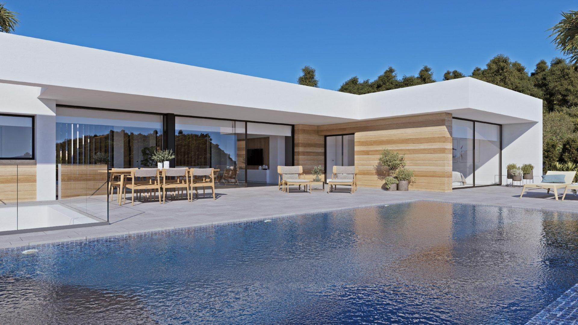 Gelijkvloerse villa met kelder