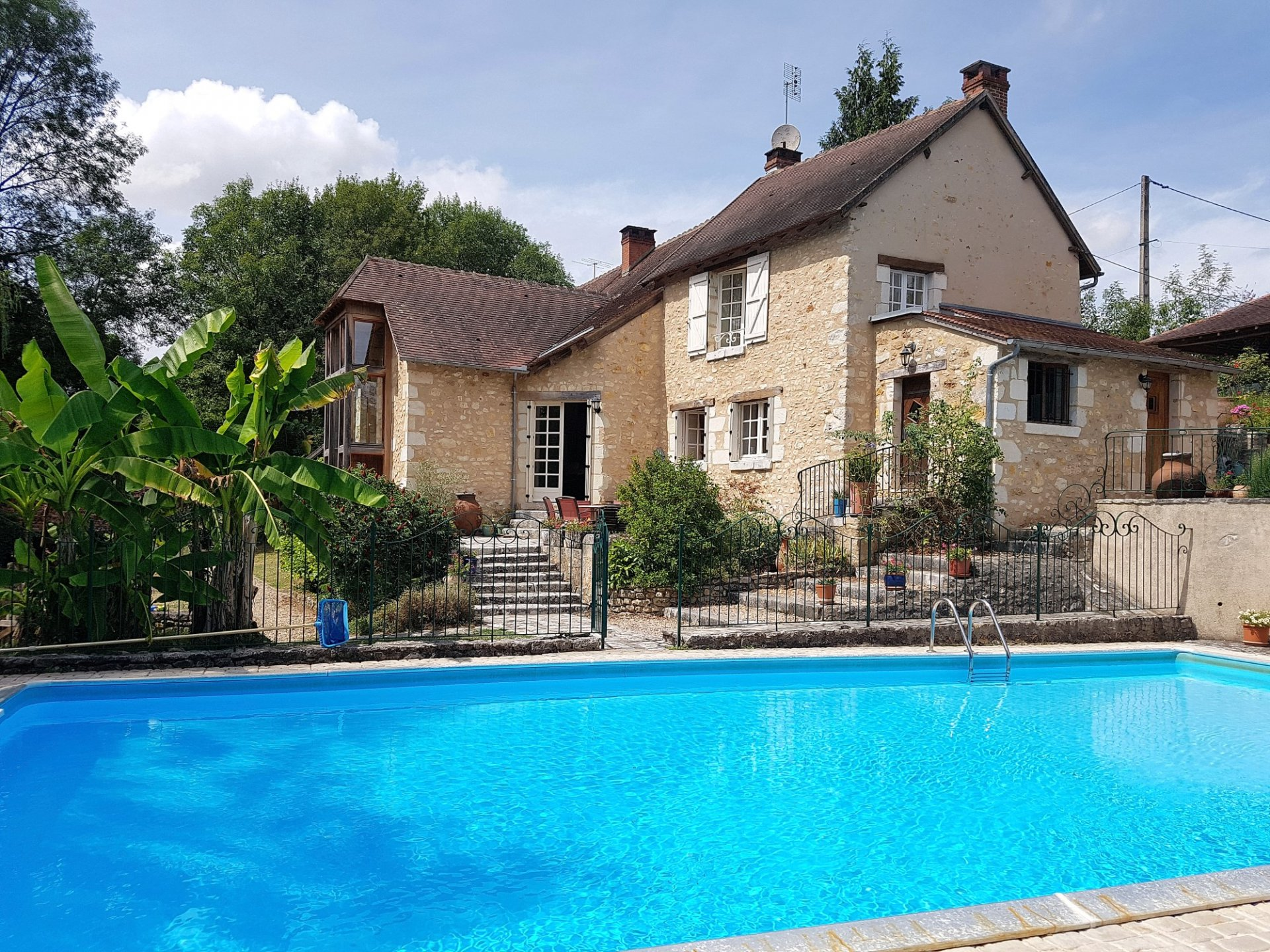Riverside house with gite for sale near Le Blanc 36