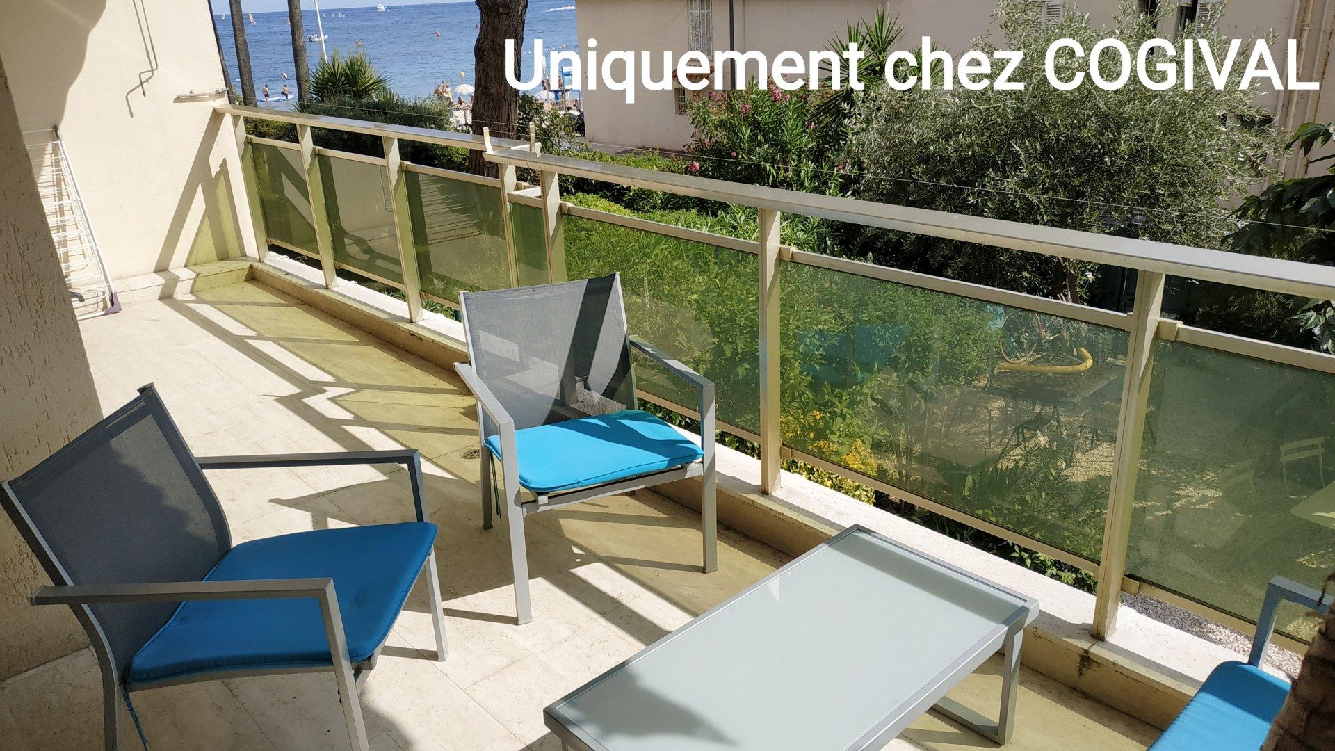 Pointe Croisette secteur Palm Beach - Bel F3 meublé de 75m² terrasse vue mer - park & cave