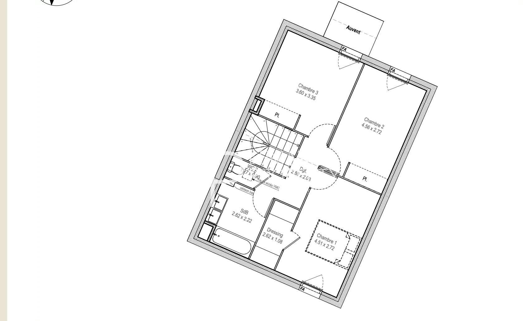 appartement de 101.81 m2 comprenant 4 pièces