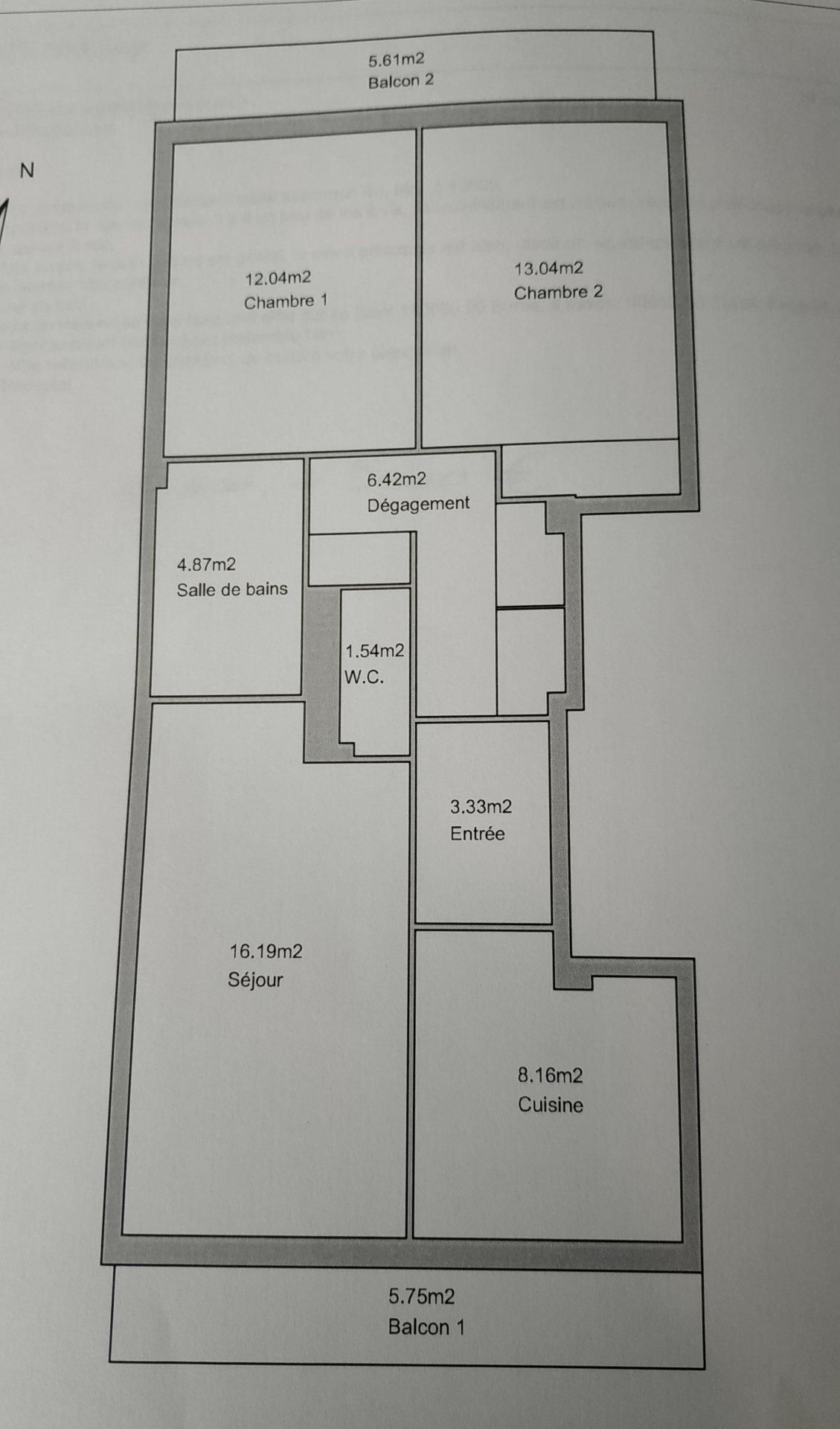 GOLFE JUAN - Agréable F3 de 64m² traversant dans une résidence au coeur de centre ville proche toutes commodités