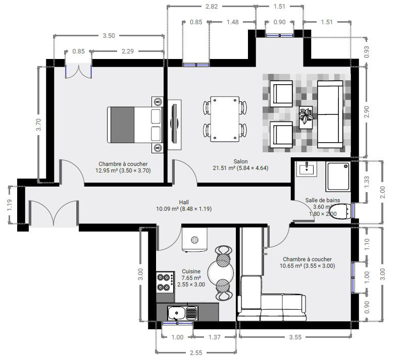 LIBERATION - 3p Bourgeois 69 m² - Bon état - Calme - Lumineux - 231.000 €