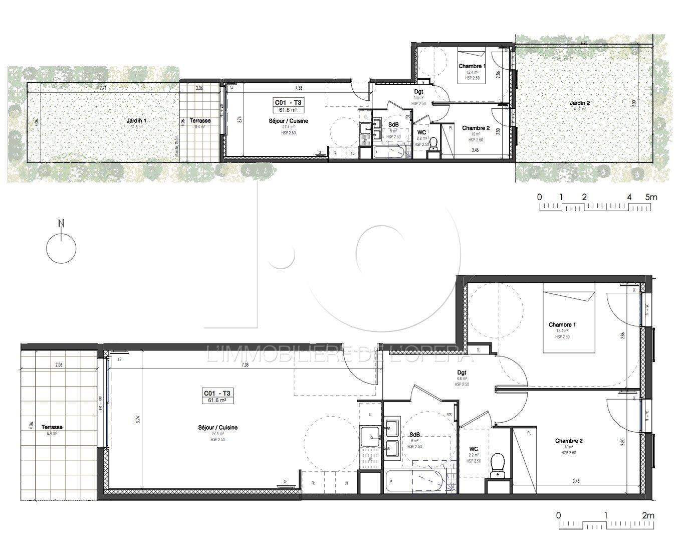 06600 ANTIBES - Appartement de 3 pièces en Rez de jardin