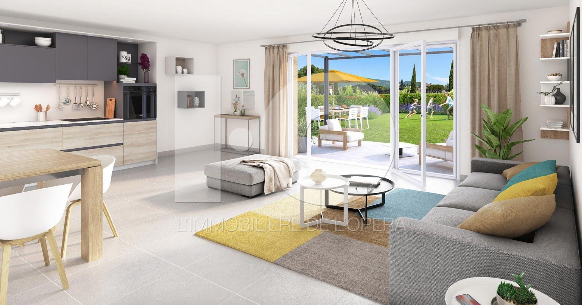 06600 ANTIBES - Appartement de 2 pièces de 38m2 en Rez de jardin