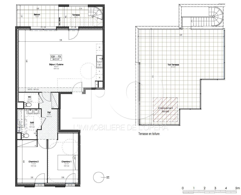 06600 ANTIBES - Appartement de 3 pièces en DERNIER ETAGE