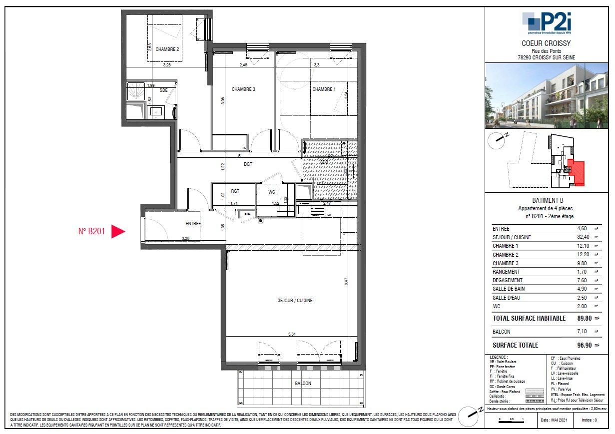 4 PIECES 89.80M²  - COEUR CROISSY