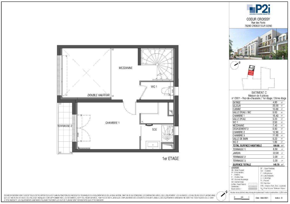 Maison 4 pièces 109m² - Jardin