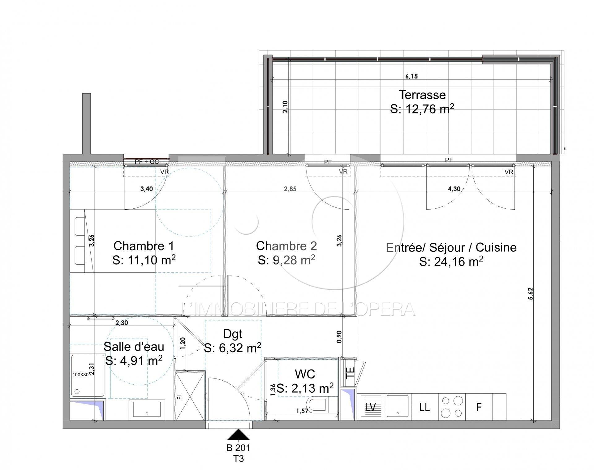 FREJUS - Appartement de 58 m2 en Rez de Jardin