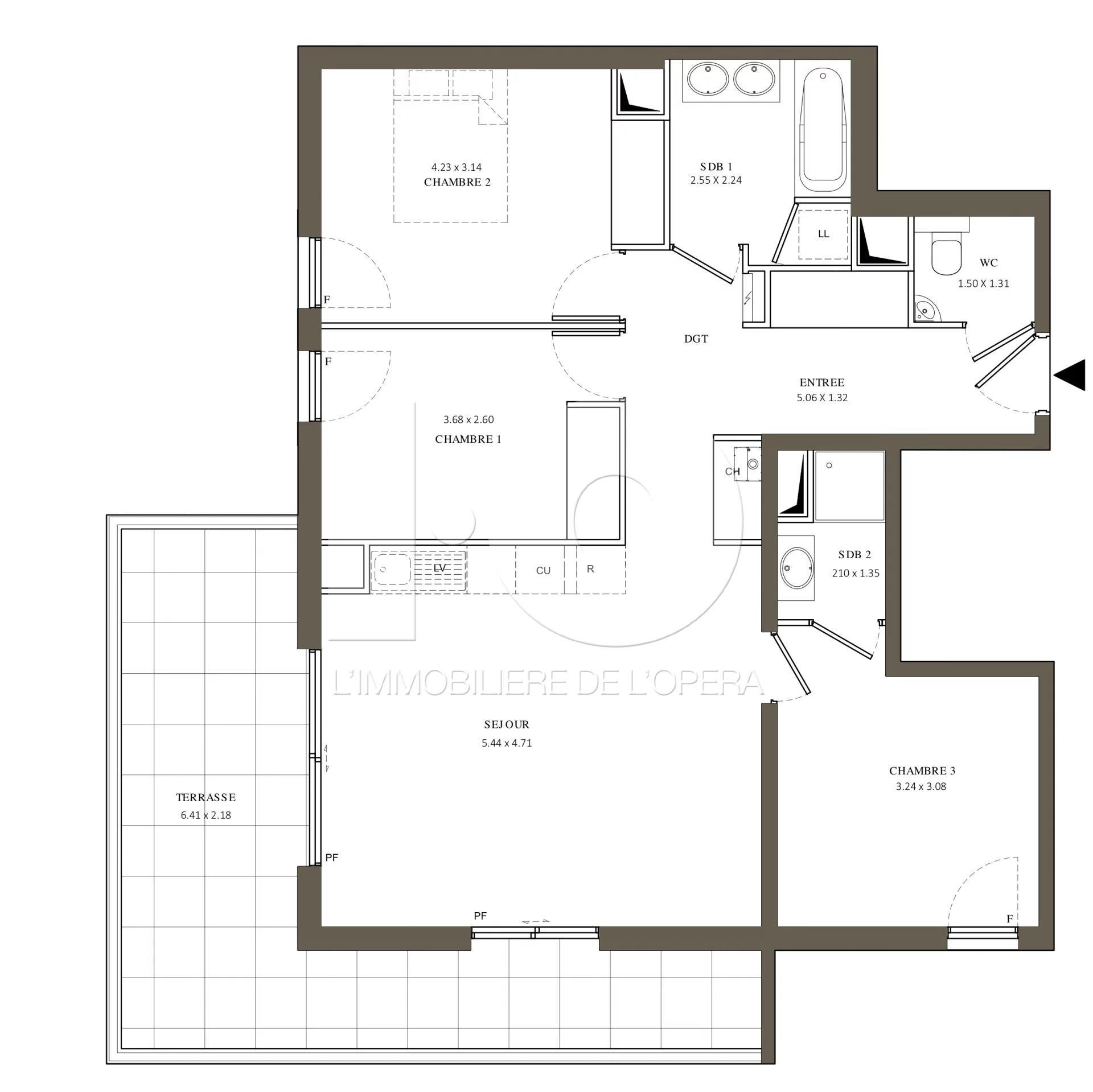06110 LE CANNET - Appartement 4 pièces de 79 m2, Terrasse 21m2