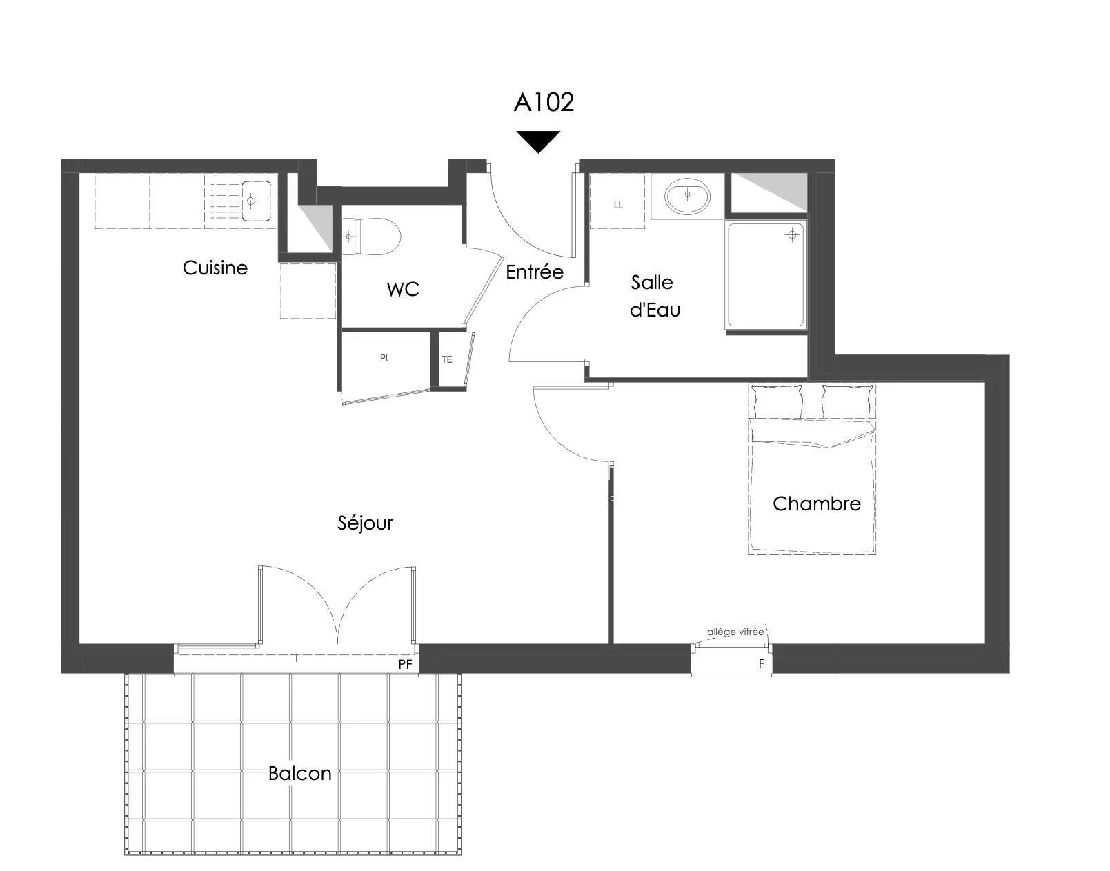 Vente de appartement d'une surface de 44.5 m2