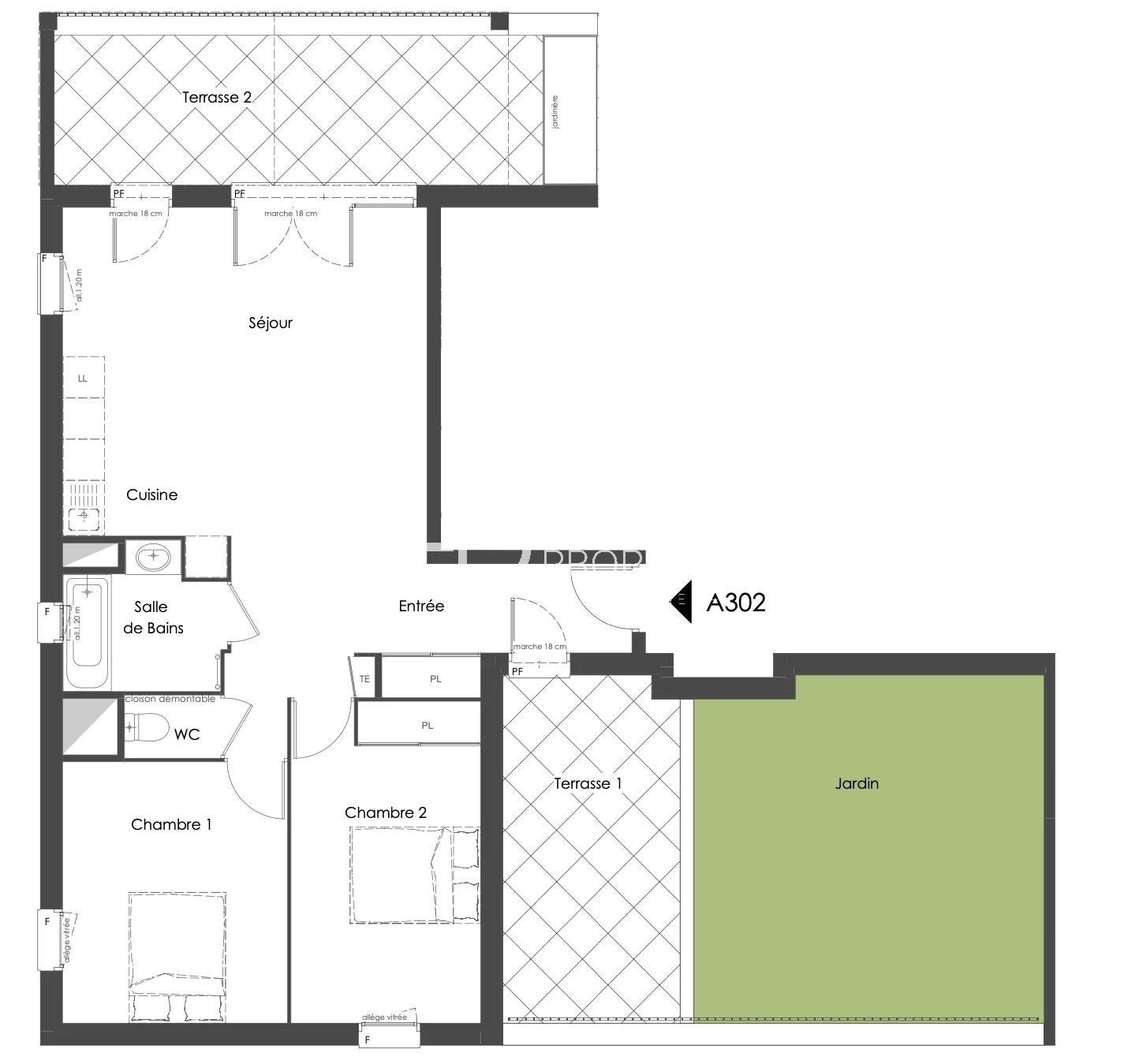 Vente de appartement d'une surface de 68.5 m2