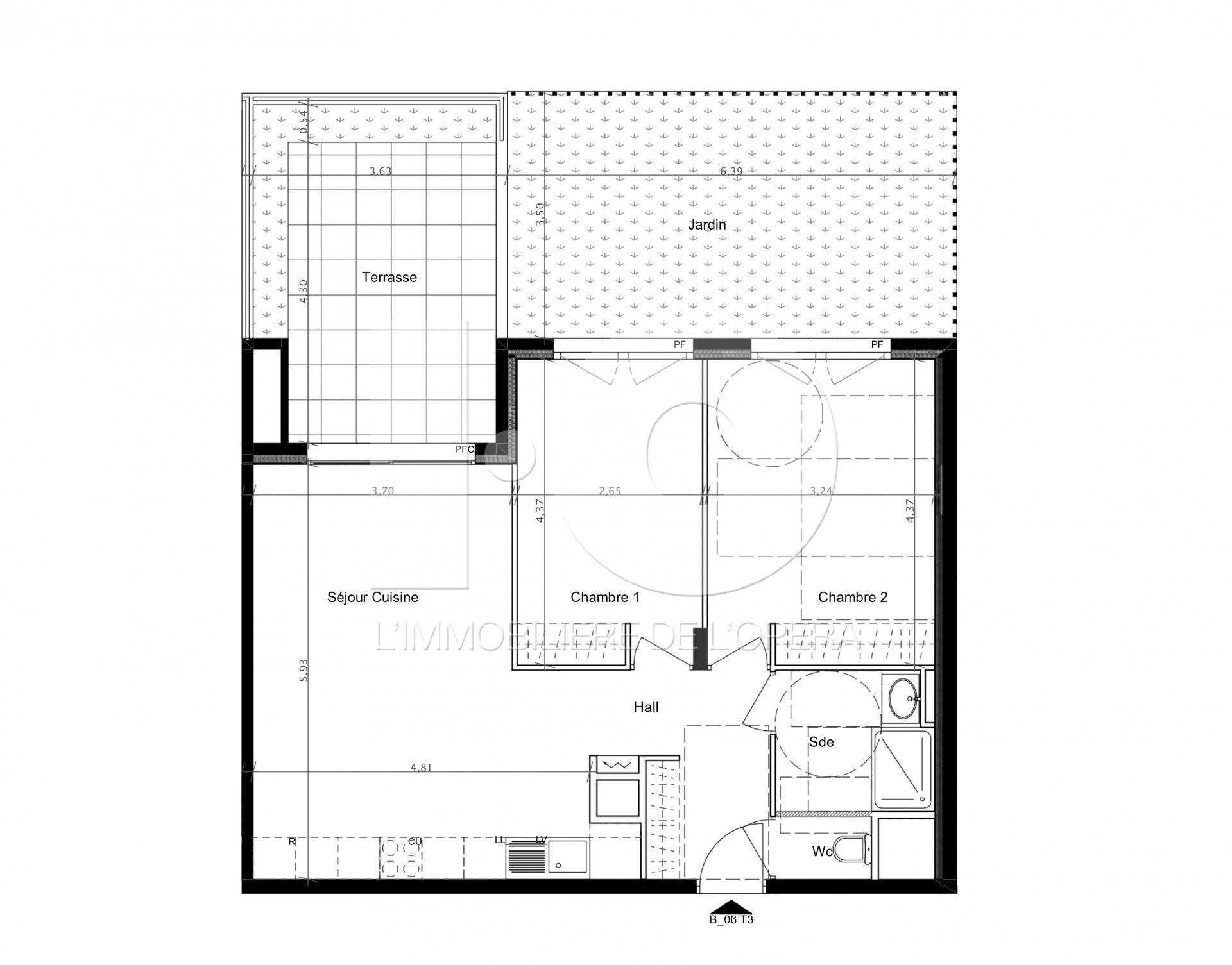 CAGNES S/ MER - Appartement 3 Pièces en Rez de Jardin 63 m2, Terrasse & Jardin