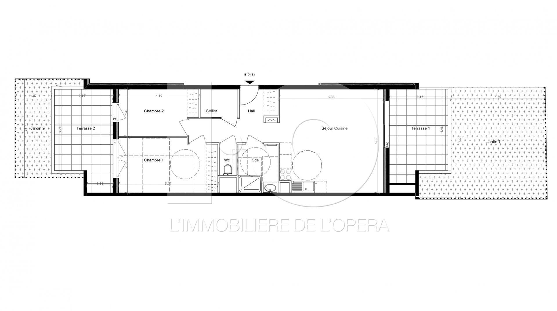 CAGNES S/ MER - Appartement 3 Pièces  Rez de Jardin 63 m2