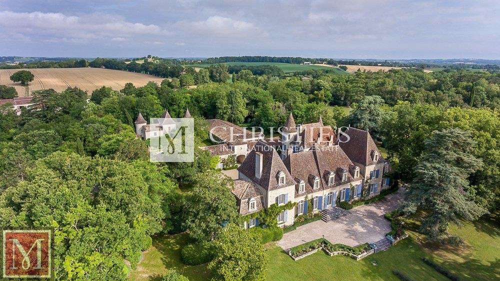 Ariel view of chateau surrounded by forest