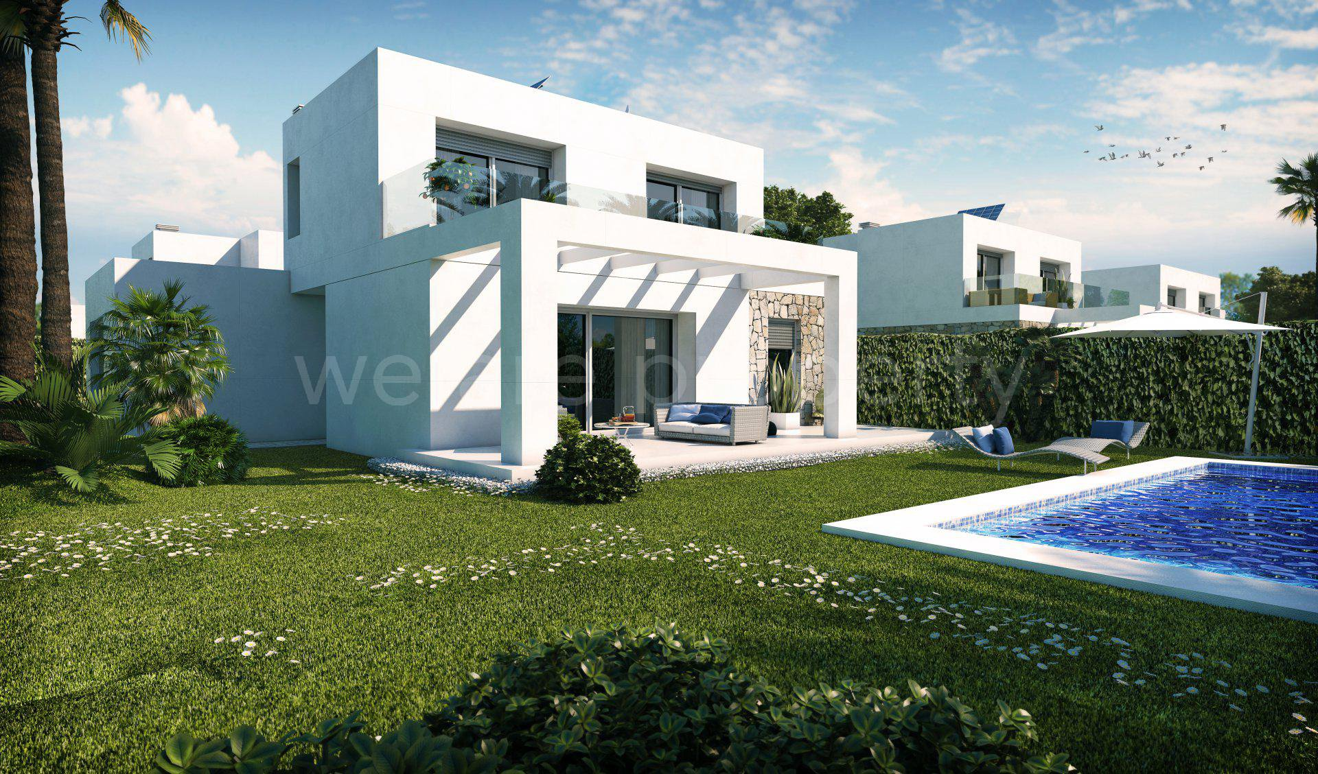 Newly built villas by Es Trenc