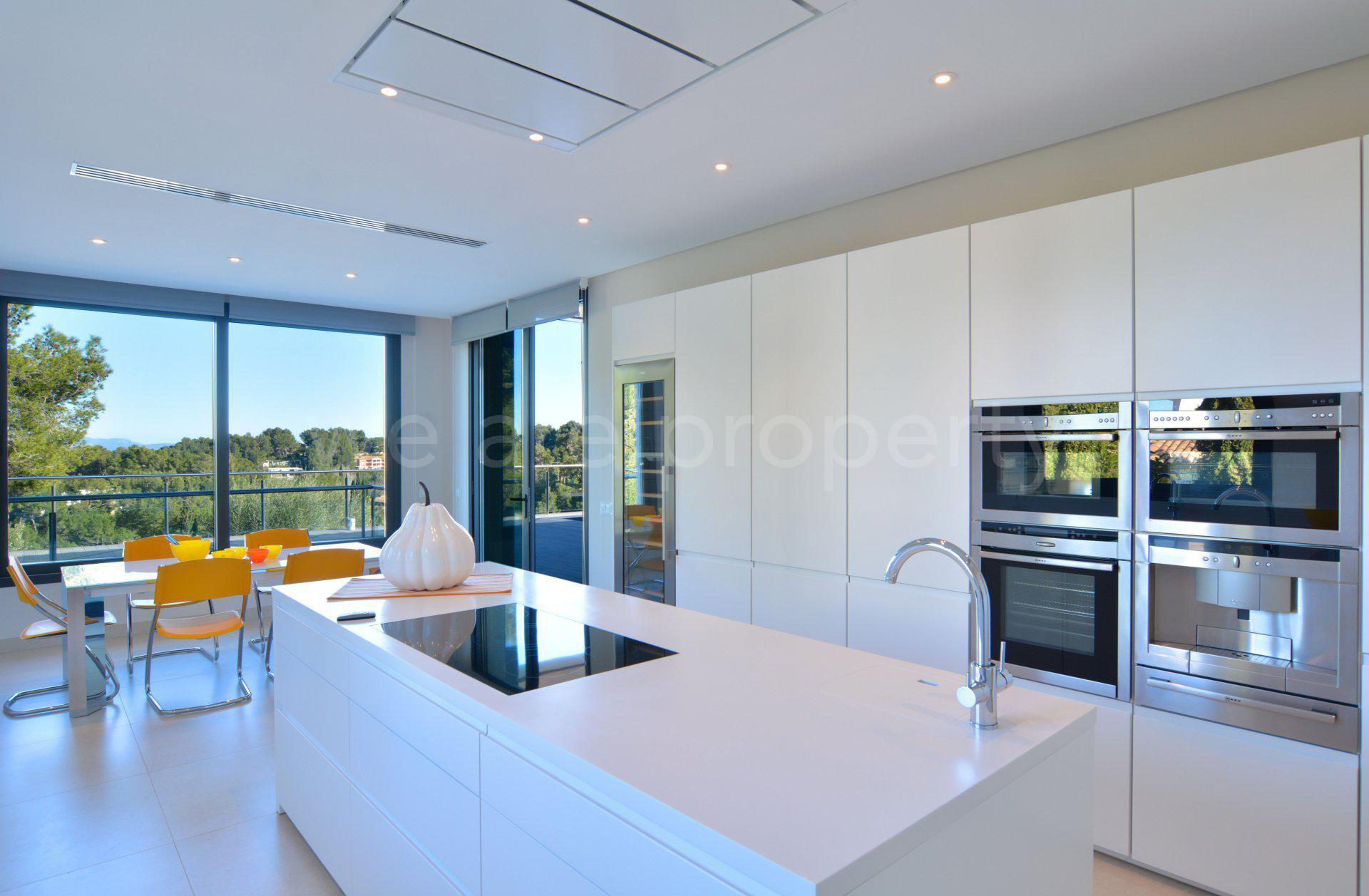 Natural light, stainless steel, kitchen island