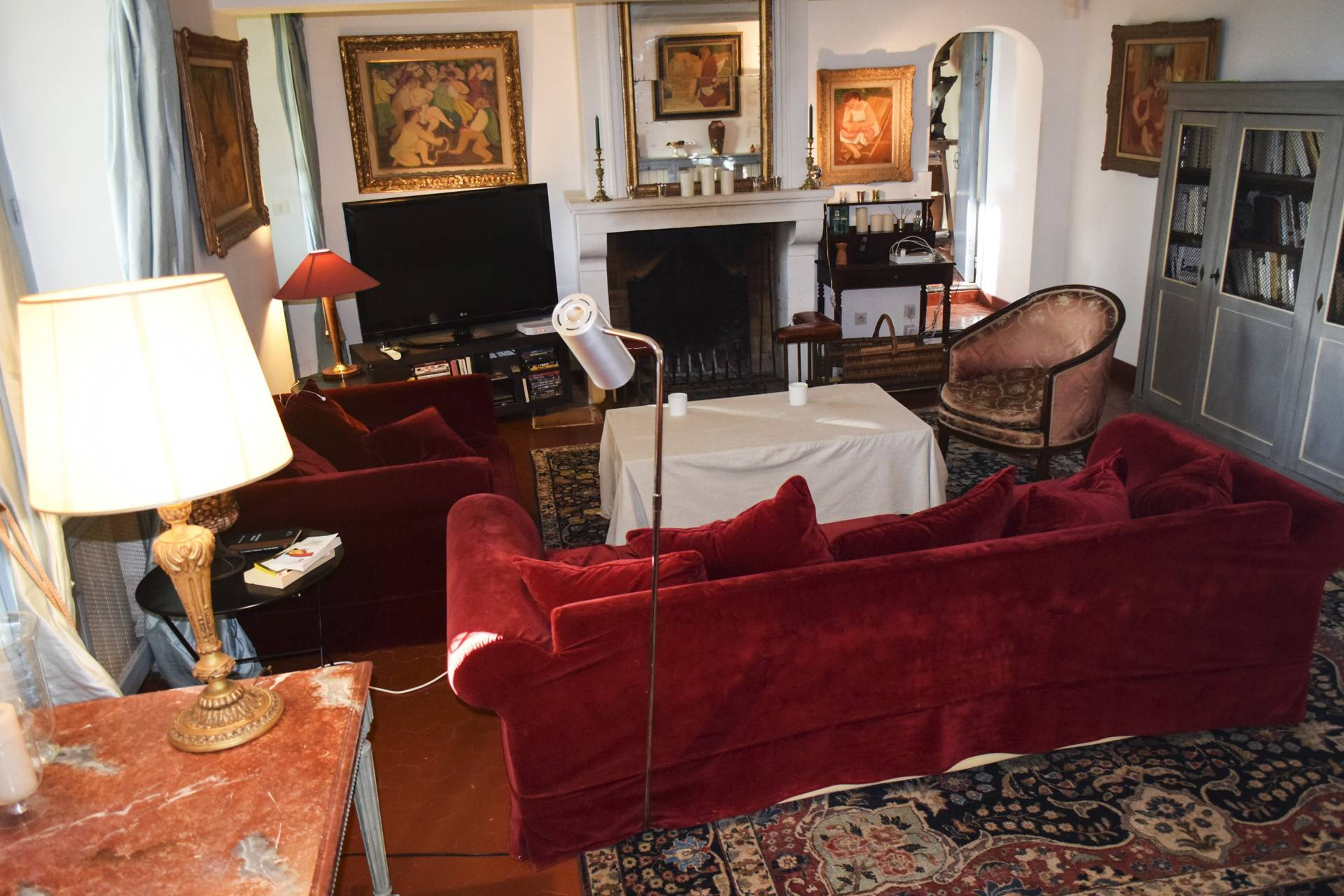 living room  renovated country house on 8 ha, swimming pool, caretaker's house, aups var, provence