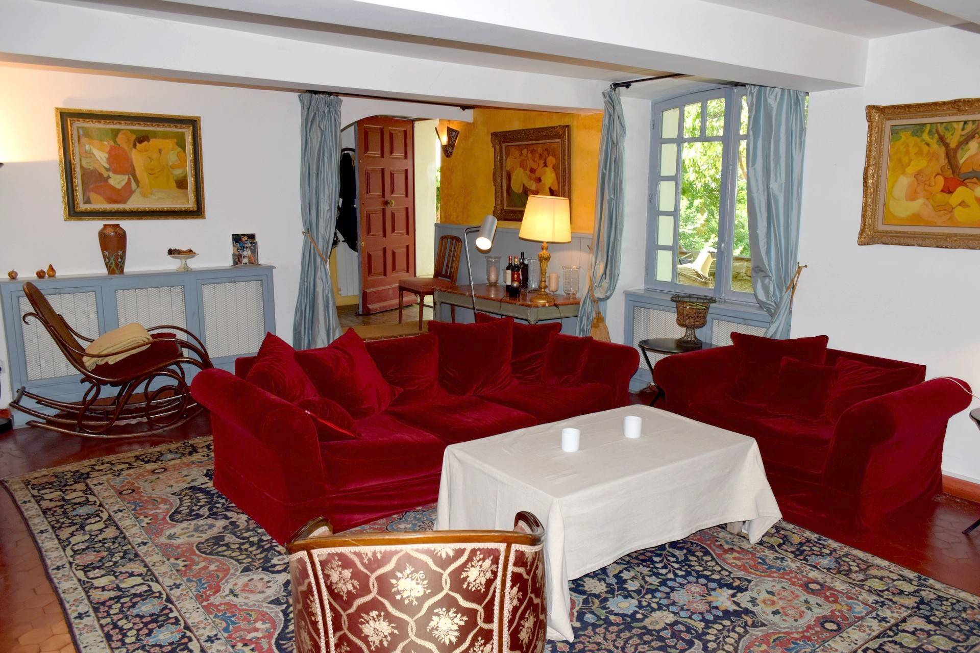 living room view  renovated country house on 8 ha, swimming pool, caretaker's house, aups var, provence