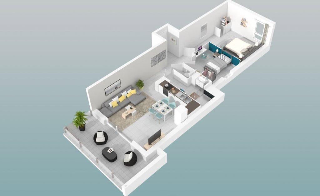 Trerumslägenhet med terrass och privat parkeringsplats