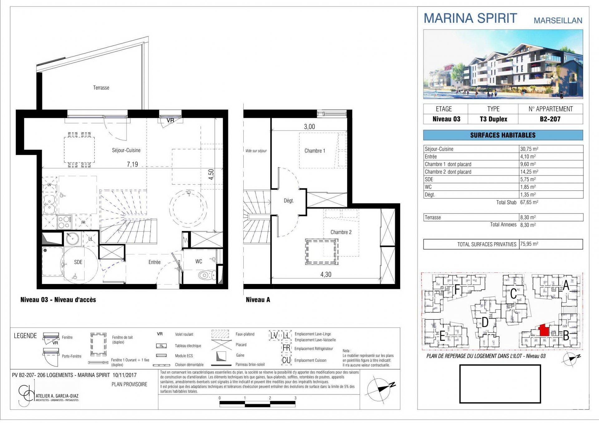 Trerumslägenhet i etage med terrass och privat parkeringsplats