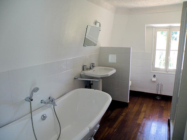 Bathroom, natural light, wooden floors