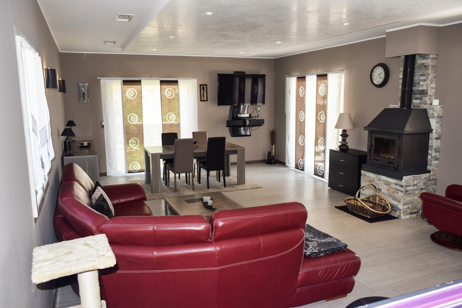 Large living room with fireplace Villa in Provence Var Tourtour