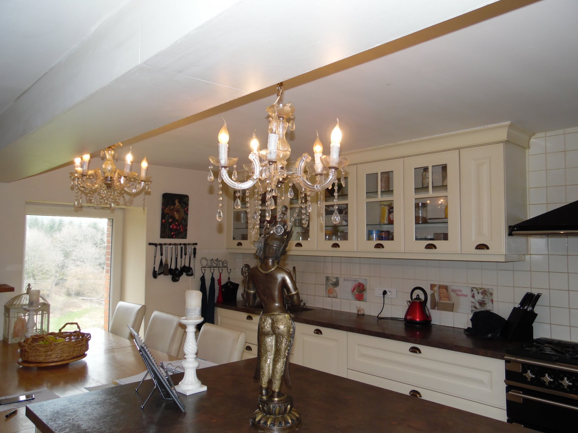 Chandelier, natural light, stainless steel